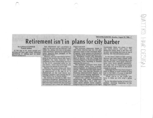 Retirement isn't in plans for city barber