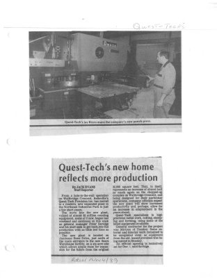 Quest-Tech's new home reflects more production