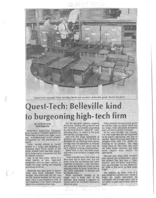 Quest-Tech: Belleville kind to burgeoning high-tech firm