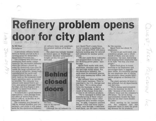 Refinery problem opens door for city plant