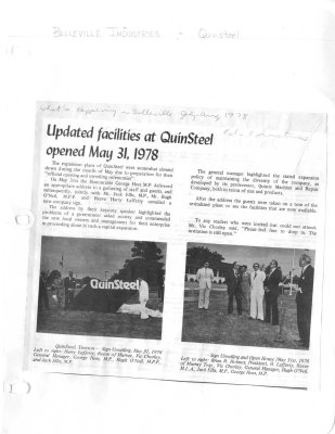 Updated facilities at QuinSteel opened May 31, 1978