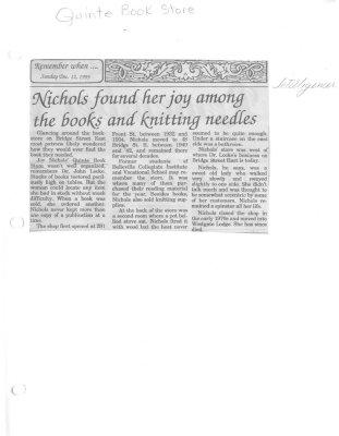 Nichols found her joy among the books and knitting needles