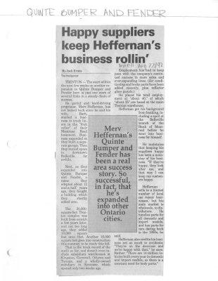 Happy suppliers keep Heffernan's business rollin'