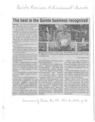 The best in the Quinte business recognized