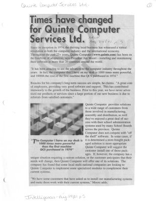 Times have changed for Quinte Computer Services Ltd.