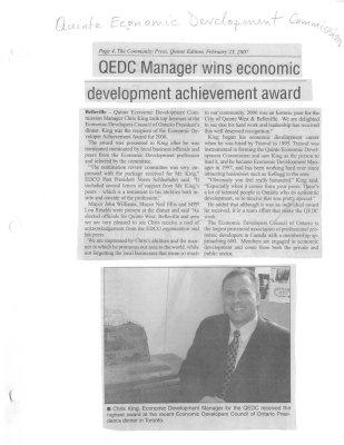QEDC Manager wins economic development achievement award