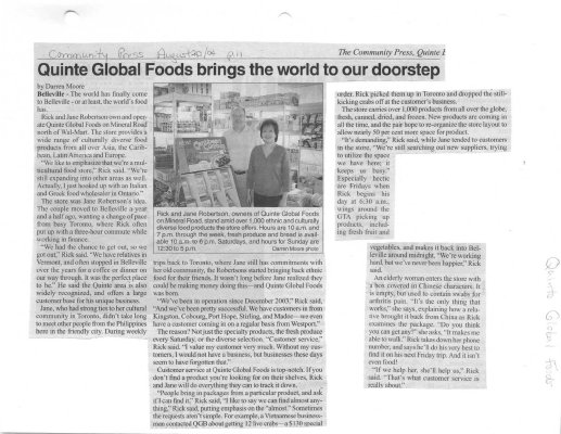 Quinte Global Foods brings the world to our doorstep
