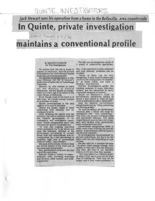 In Quinte, private investigation maintains a conventional profile