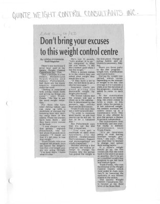 Don't bring your excuses to this weight control centre