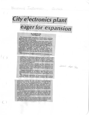 City electronics plant eager for expansion