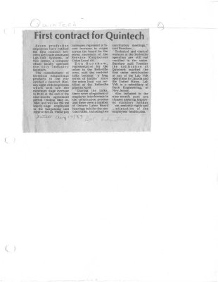 First contract for Quintech