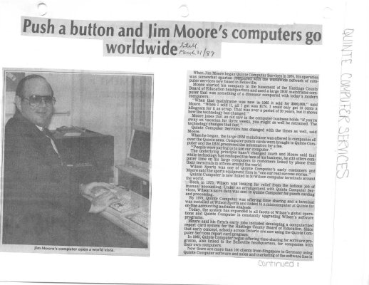 Push a button and Jim Moore's computers go worldwide