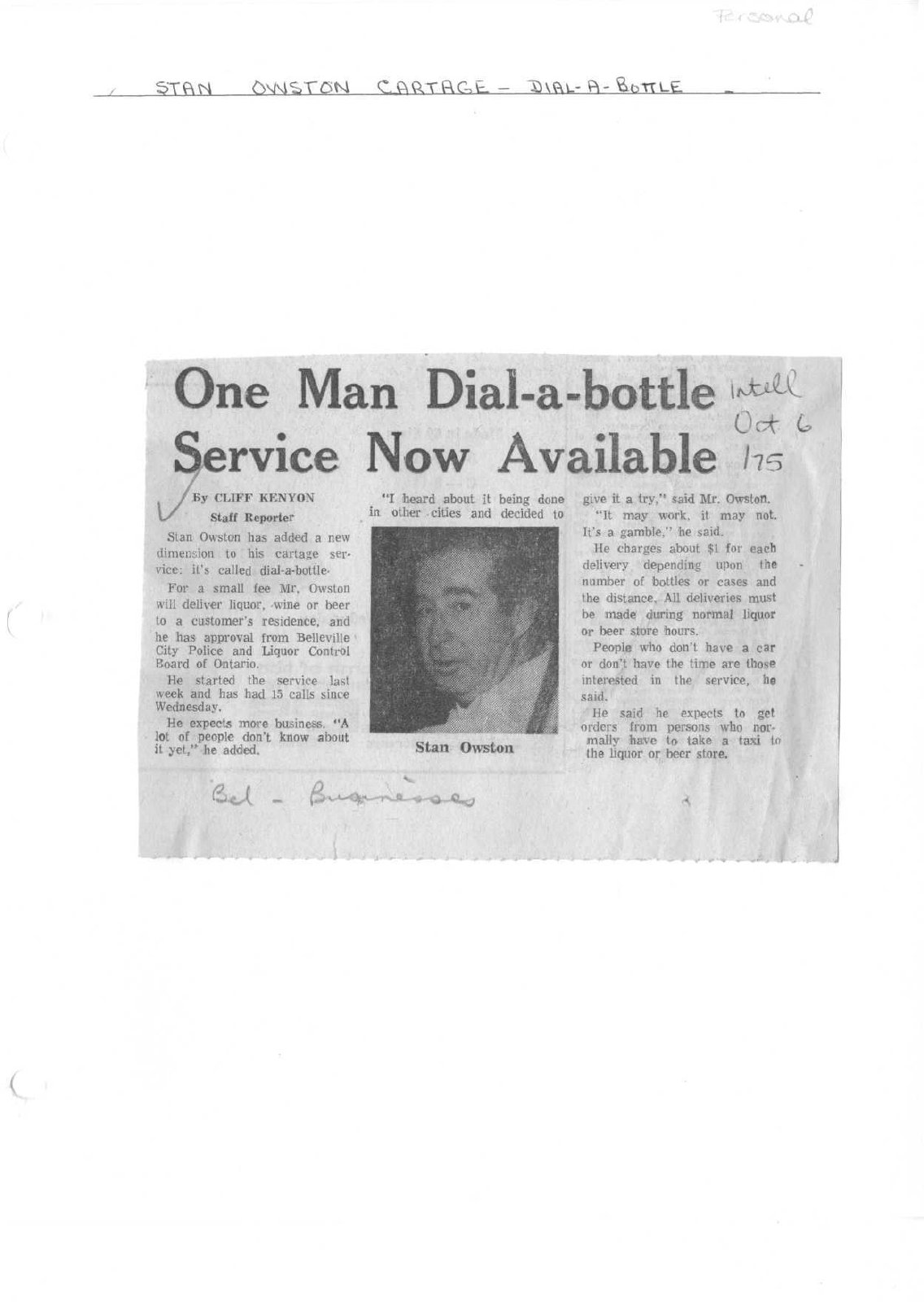 One Man Dial-a-bottle Service Now Available