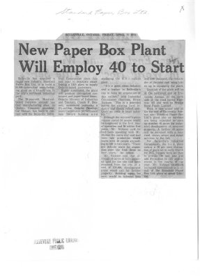 New Paper Box Plant WIll Employ 40 to Start