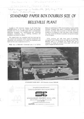 Standard Paper Box Doubles Size of Belleville Plant