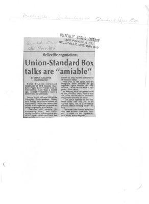 """Union-Standard Box talks are """"amiable"""""""