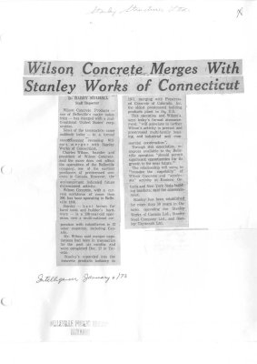Wilson Concrete Merges With Stanley Works of Connecticut