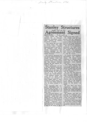 Stanley Structures Agreement Signed