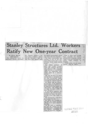 Stanley Structures Ltd. Workers Ratify New One-year Contract