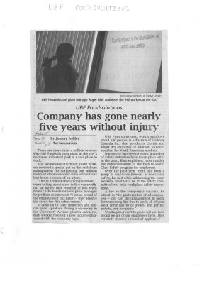 Company has gone nearly five years without injury