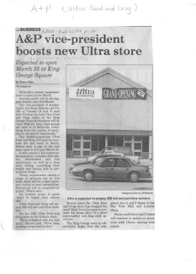A&P vice-president boosts new Ultra store