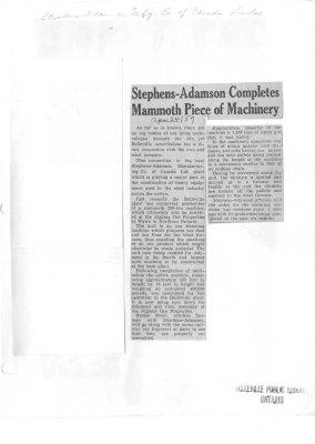 Stephens-Adamson Completes Mammoth Piece of Machinery