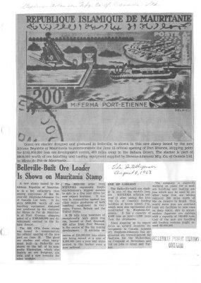 Belleville-Built Ore Loader Is Shown on Mauritania Stamp