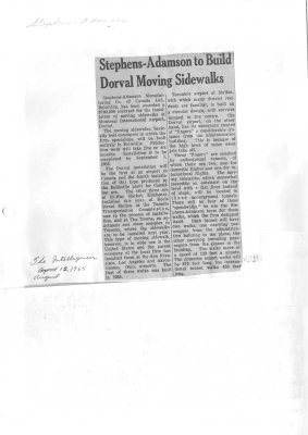 Stephens-Adamson to Build Dorval Moving Sidewalks