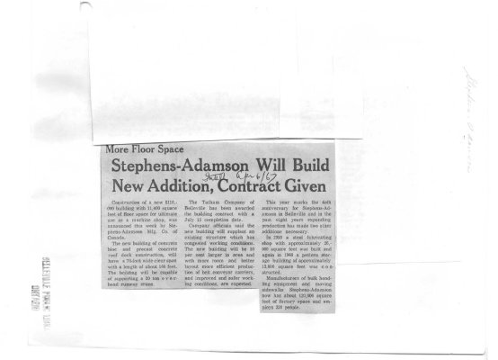 Stephens-Adamson Will Build New Addition, Contract Given