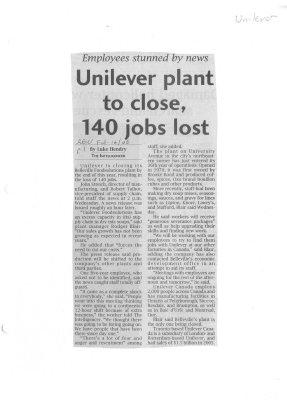 Unilever plant to close, 140 jobs lost