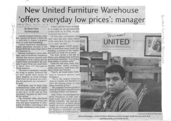 New United Furniture Warehouse offers everyday low prices': manager