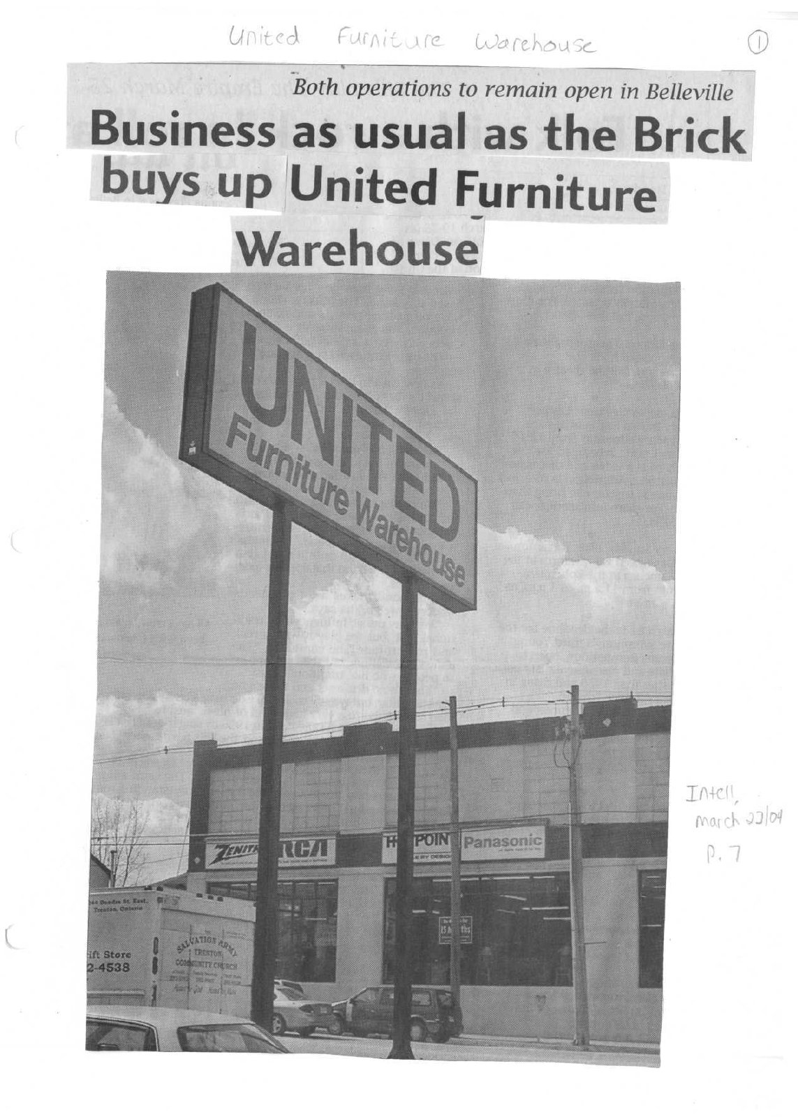 Business as usual as the Brick buys up United Furniture Warehouse