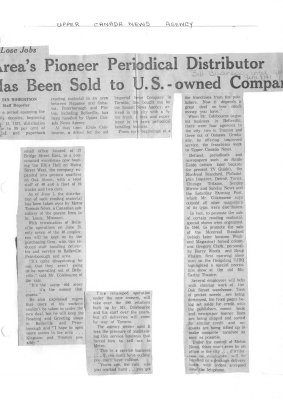 Area's pioneer periodical distributor has been sold to U.S. - owned Company