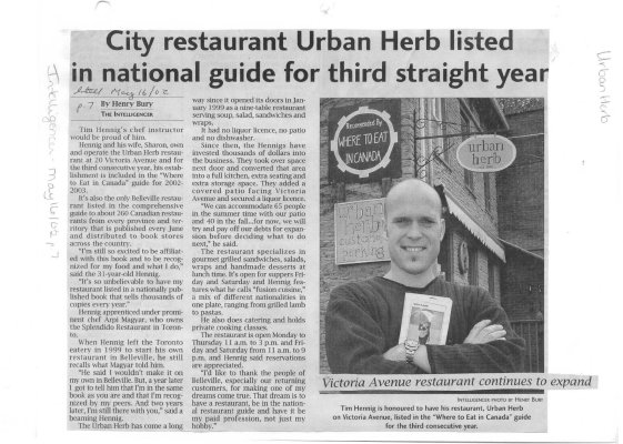 City Restaurant Urban Herb listed in national guide for third straight year