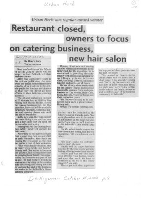 Restaurant closed, owners to focus on catering business, new hair salon
