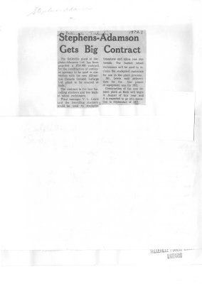 Stephens-Adamson Gets Big Contract