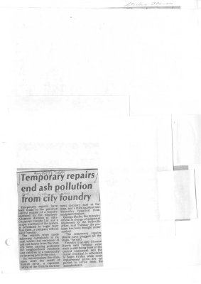 Temporary repairs end ash pollution from city foundry