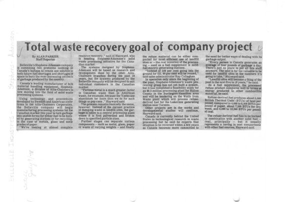 Total waste recovery goal of company project