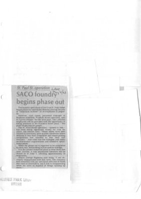 SACO foundry begins phase out