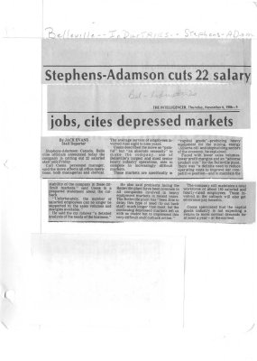 Stephens-Adamson cuts 22 salary jobs, cites depressed markets