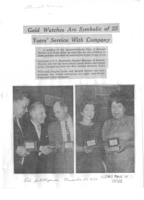 Gold Watches Are Symbolic of 25 Years' Service With Company