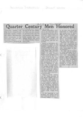 Quarter Century Men Honored