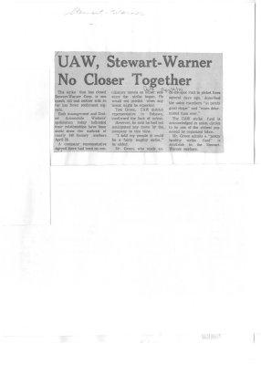 UAW, Stewart-Warner No Closer Together