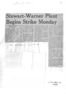 Stewart-Warner Plant Begins Strike Monday