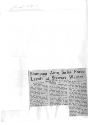 Slumping Auto Sales Force Layoff at Stewart Warner