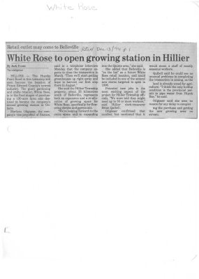 White Rose to open growing station in Hillier