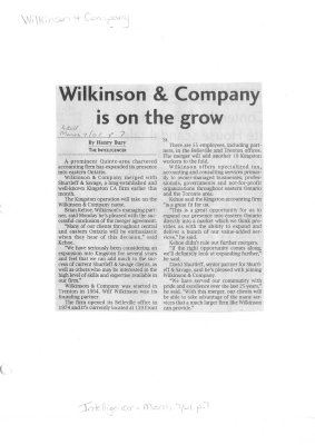 Wilkinson & Company is on the grow