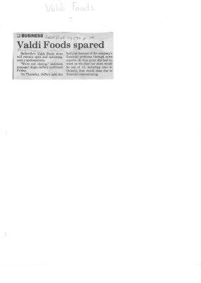 Valdi Foods spared
