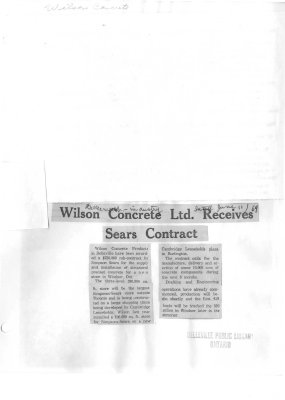 Wilson Concrete Ltd. Receives Sears Contract