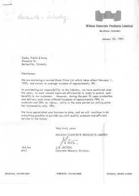Letter to Corby Public Library
